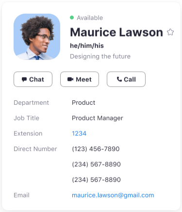 User profile card with pronouns displayed under user's display name